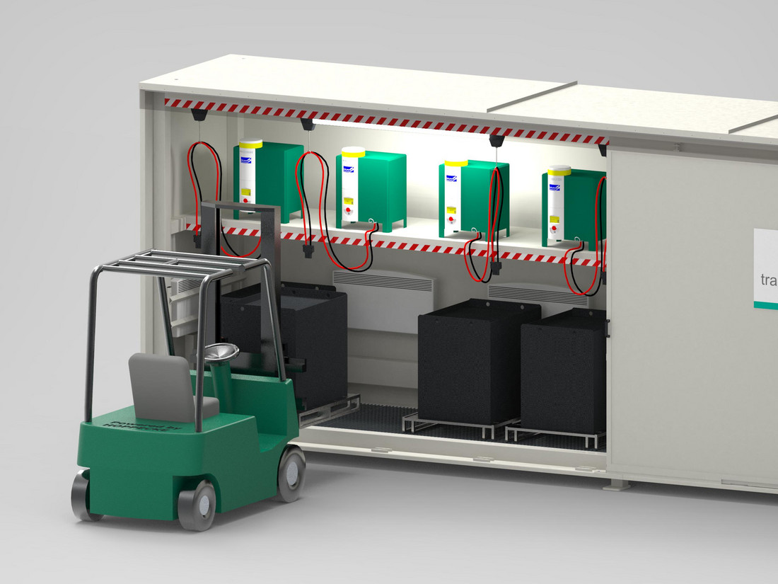 Outside in the box: HOPPECKE trak | systemizer powercube is a unique outdoor loading and changing station for industrial trucks - Monday, 25.09.2017